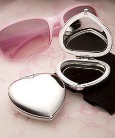 Heart Shaped Compact Mirror Favors #heart #favors #compactmirror