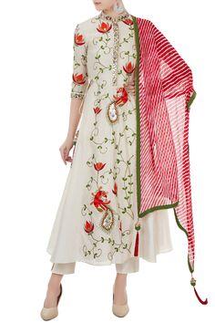 Shop Chandni Rai Off white chanderi thread & mirror work a-line kurta with dupatta , Exclusive Indian Designer Latest Collections Available at Aza Fashions Hijab Fashion, Fashion Outfits, Womens Fashion, Fashion Trends, Anarkali Dress, Lehenga, Saree, A Line Kurta, Desi Clothes