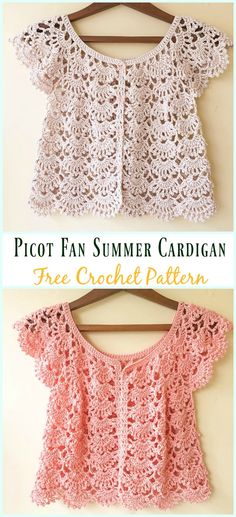 Picot Fan Summer Cardigan Crochet Free Pattern - Women Summer Jacket Free Patterns Crochet Women Summer Jacket Cardigan Free Patterns: Crochet Summer Outwear for girls, ladies Summer cardigan, vest, short sleeve, open front jacket and Crochet Shrug Pattern Free, Cardigan Au Crochet, Crochet Patterns Free Women, Black Crochet Dress, Crochet Jacket, Knitting Patterns, Crochet Shrugs, Sewing Patterns, Lace Cardigan