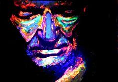 Famous American Blind Artist John Bramblitt Willie Nelson Piece using UltraViolet Light