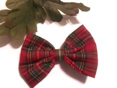 Holiday Plaid Hairbow Christmas bows Red and Green by bowsngifts, $3.00