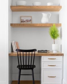Kitchen Nook with Built In Desk and Shelves - Transitional - Kitchen Home Office Closet, Closet Desk, Home Office Space, Home Office Design, Home Office Decor, Home Decor, Closet Turned Office, Tiny Home Office, Home Office Table