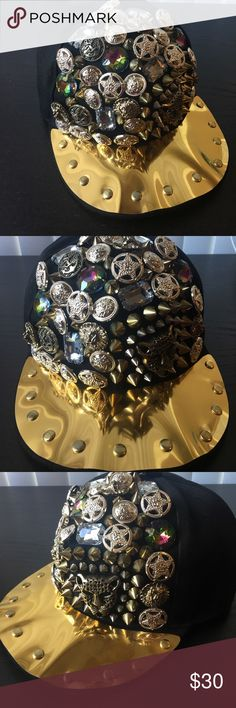 Gold and black embellished hardware ball cap ❤️ Black and gold embellished hardware hat with diamonds, spikes and stars etc. Great accent piece to add to any hip-hop look. Accessories Hats