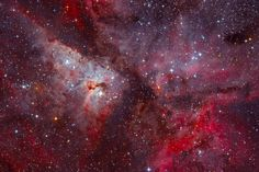 One of the biggest of its kind in our night sky, the emission nebula which appears brighter and four times larger than Orion Nebula. Despite there are large number of globules, open clusters, dark and bright regions and even dust-pillars in it, its most interesting part is...