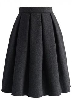 Wool-blend Pleated Twill Skirt