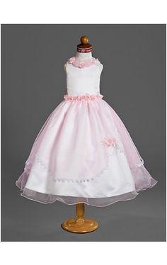 Ball Gown Jewel Tea-length Organza Over Satin Flower Girl Dress