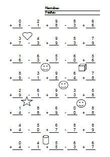Fichas de matemáticas. Fichas de sumas y restas sin llevar de una cifra sin llevar en vertical.