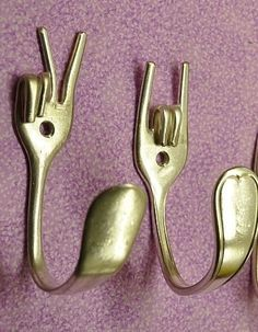 Cute hooks out of old silverware!  How to: http://www.realsimple.com/home-organizing/home-improvement/create-hooks-out-of-silverware-00000000037897/page4.html