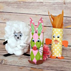 Toilet Paper Roll Baby Farm Animals!  Put your empty TP Rolls to use with this fun Spring kids craft.