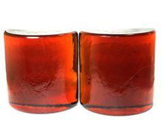 Blenko half moon Bookends- rich amber, demi-lune, half round glass
