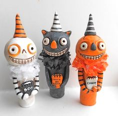 #Halloween Black Cat Original Clay Folk Art by indigotwin on Etsy, $27.00