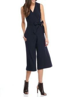 Donna Ricco New York Navy Solid Cropped Jumpsuit