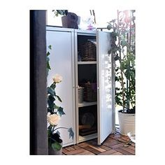JOSEF Cabinet - white - IKEA - indoor/outdoor $45 Could a lock be added? Can buy online.