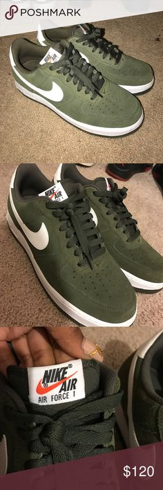 Air FORCE 1 NIKE Air Force 1. Olive green surface material. Brand new. Dope shoes still have box. Size 10 women size 8 men Nike Shoes Sneakers
