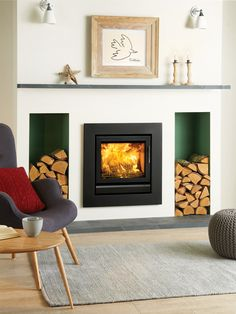 Stovax Riva 50 Inset Multifuel / Woodburning Stove - Multi Fuel Inset Stoves - All Stoves - Stoves Are Us Contemporary Fireplace, Home Living Room, Front Room, New Living Room, Contemporary Fireplace Designs, Log Burner Living Room, Wood Burning Fireplace Inserts, Fireplace