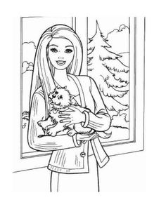 Christmas Barbie Coloring Pages
