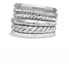 David Yurman Stax Wide Ring with Diamonds ($1,260) ❤ liked on Polyvore featuring jewelry, rings, apparel & accessories, silver, wide rings, david yurman rings, david yurman jewellery, diamond rings and david yurman jewelry