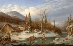Winter Landscape, Laval', oil on canvas painting by Cornelius Krieghoff, National Gallery of Canada Canadian Painters, Canadian Artists, Landscape Prints, Landscape Art, Art Inuit, South Africa Safari, Oil On Canvas, Canvas Prints, Ireland Landscape