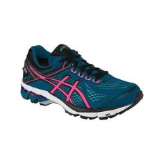 Women's ASICS GT-1000 4 GORE-TEX Running Shoe - Mosaic Blue/Hot... ($120) ❤ liked on Polyvore featuring shoes, athletic shoes, waterproof shoes, black shoes, asics shoes and blue athletic shoes