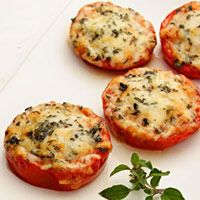 Baked Parmesan Tomatoes, low carb snack, would make smaller tomato slices next time, but I liked them.