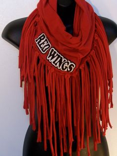 Red infinity, Red Wings, hockey, Red Wing clothing, fringe, team sports, hockey fan, Detroit Red Wings, game day scarf on Etsy, $35.00