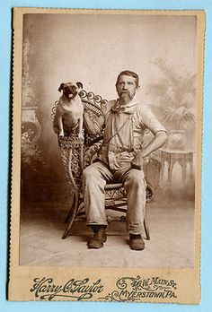 Antique Cabinet Photo Pug Dog Man in Work Clothes Myerstown Lebanon Co PA | eBay