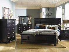 New! Queen Size Klaussner Furniture Ashton Panel Bed Bedroom Set Indoor ,Black #AlpineFurniture #Cottage