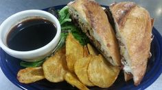 BLUE PLATE SPECIAL 7-16-14:  ROAST SEITAN SANDWICH AU JUS: Sliced house-made Seitan, Crispy fried Red Onions & Horseradish Mayo served on a Grilled Iggy's Baguette w/a vegan au Jus French Dip. Served with dressed greens and your choice of green cabbage slaw, potato salad, or house-fried potato chips. #vegan www.veggiegalaxy.com