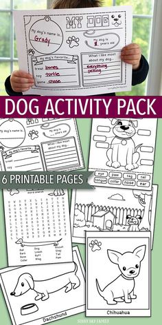 Printable Dog Activity Pack for kids! This 6 page printable set is perfect for a preschool pet theme, pet summer camp, dog themed birthday party, or just for fun. Includes 6 pages of interactive games and dog coloring pages. So much fun for little pet lov Dog Themed Parties, Puppy Birthday Parties, Dog Birthday, Birthday Party Themes, Birthday Ideas, Party Animals, Animal Party, Dog Activities, Party Activities