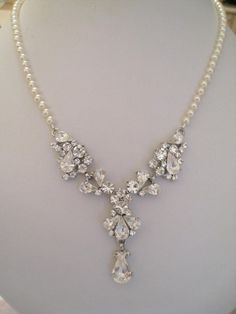 BrideBridesmaids Rhinestone Center with pearl necklace by maylui, $65.00