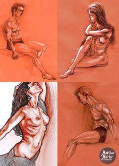 Dibujo en sanguina de figura humana/ Sanguine figure Drawing
