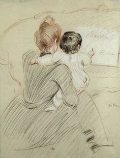Fine Art Print of Madame Paul Helleu and her Daughter Paulette, 1905 by Paul Cesar Helleu