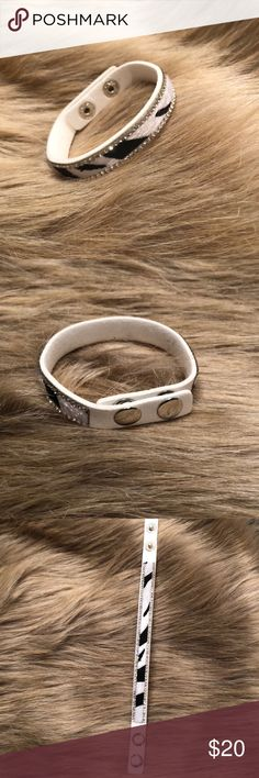 Faux Zebra Fur Crystal Bracelet Wrap Trendy and beautiful wrap! I bought this brand new from another posher and have no idea where I will wear it! Adjustable clasp to fit any wrist! Jewelry Bracelets
