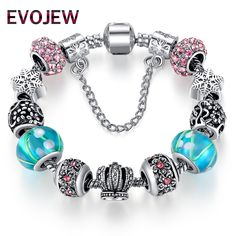 2016 New Trendy European 925 Tibetan Silver Blue Crystal Ball Charm Fit Original Bracelets for Women DIY Jewelry Christmas Gift #Affiliate