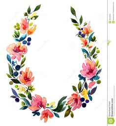 Hand Painted Watercolor Wreath. Flower Decoration. - Download From Over 29 Million High Quality Stock Photos, Images, Vectors. Sign up for FREE today. Image: 45443653