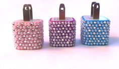 Swarovsky crystal rhinestone Bling 10 Color Cell Phone Adapter Wall Charger ONLY iPhone 3g 4 4s 5 iPad iPod Samsung. $18.00, via Etsy.