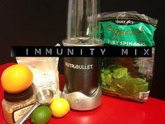"Nutribullet ""Immunity Mix"" Nutriblast Recipe made with spinach, lemon, lime, orange, ginger, raw honey, sea salt, & cashews. nutribullet, #nutriblast."