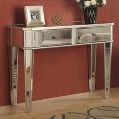 Powell Mirrored Console with Silver Wood - List price: $273.00 Price: $239.80