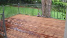 Backyard timber #deck on steel frame with powdercoated aluminium handrails. www.buildingworksaust.com.au #sydney