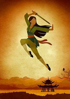 Disney Mulan Minimalist Movie Poster by moonposter on Etsy