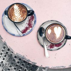 Coffee for two please  #goodmorning #coffeelovers #instacoffee #morning #needit #coffee #pink #wakeup #latte #regram @ohhcouture #justlikesushi by justlikesushi Panna Cotta, Drinks, Dulce De Leche