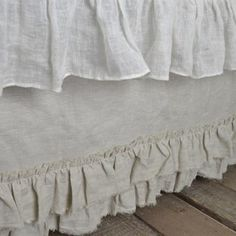 The Vintage Ruffle bed skirt is a gorgeous bed skirt with double layers of frayed ruffle edges. 100% linen available in multiple colors. Made in USA