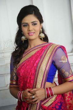 Actress Srimukhi in Half Saree at Nadhi Theeram Telugu Movie Opening (38) at Telugu Actress Srimukhi Images in Half Saree  #SreeMukhiRathod