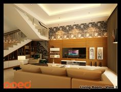 Tropical minimalist style for our client's living room design. Location : Jakarta, Indonesia