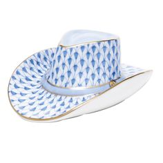 Herend Hand Painted Porcelain Figurine Cowboy Hat Blue Fishnet Gold Accents.