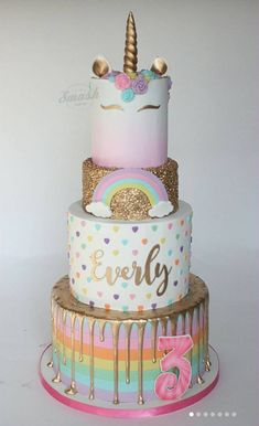 This 4 tier rainbow unicorn cake is definitely a showstopper worthy of being at any birthday party # unicorn cake 15 Captivating Unicorn Birthday Cakes - Find Your Cake Inspiration Unicorn Themed Birthday Party, Birthday Cake Girls, Unicorn Birthday Cakes, Unicorn Party, 17th Birthday Cakes, Rainbow Birthday Cakes, Unicorn Themed Cake, 10th Birthday, Cakes Originales
