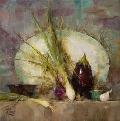 Onions and Eggplant by Laura Robb ~ 10 x 10 Fruit Bowl Drawing, Asian Tapestries, Large Scale Art, Blue And White Vase, Art Addiction, Smoke Art, Still Life Art, Flower Oil, Japanese Prints