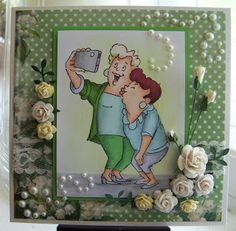 Art Impressions Rubber Stamps Girlfriends Picture Perfect set. handmade card
