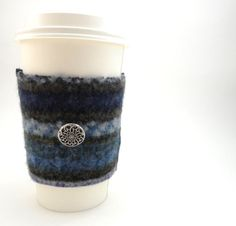 Coffee Cozy BLUE & OLIVE Purple Felted Sweater Wool Cup Sleeve, upcycled and exo-friendly by WormeWoole