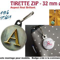 Tirette zip ø 32 mm - alphabet, monogramme effet gold patina badge pour fermeture éclair